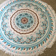 Blue Casual Party Print Tassel Split Joint Beach Mat