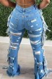 Baby Blue Fashion Casual Solid Tassel Ripped High Waist Regular Denim Jeans