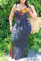 Black Sexy Casual Print Basic U Neck Vest Dress