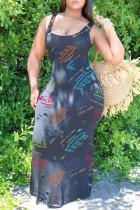 Black Sexy Casual Letter Print Basic U Neck Vest Dress