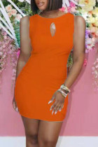 Orange Sexy Casual Solid Hollowed Out O Neck Sleeveless Dress