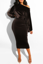 Deep Coffee Fashion Sexy Solid backless One word collar Step Skirt Dresses