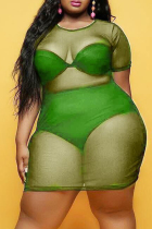 Fluorescent Green Sexy Plus Size Solid See-through O Neck Short Sleeve Dress