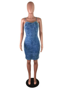 Light Blue Sexy Casual Solid Make Old Spaghetti Strap Pencil Skirt Dresses