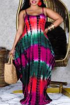 Red Fashion Casual Plus Size Print Basic Spaghetti Strap Sleeveless Dress