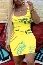 Yellow Fashion Casual Letter Print Basic U Neck Vest Dress