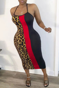 Red Fashion Casual Ma'am Leopard Halter Neck A-Line Dresses