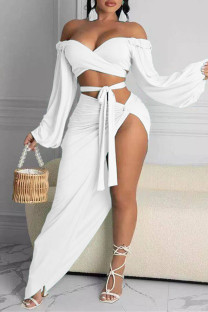 White Fashion Sexy Solid Backless Asymmetrical Off the Shoulder Long Sleeve Two Pieces