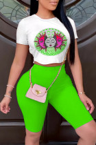 Green Fashion Casual Print Basic O Neck Short Sleeve Two Pieces