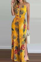 Yellow Sexy Print Slit Halter Straight Jumpsuits