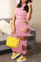 Pink Fashion Sexy Solid Hollowed Out O Neck Sleeveless Two Pieces