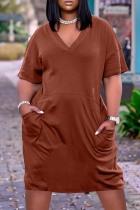 Coffee Fashion Casual Solid Basic V Neck Short Sleeve Dress