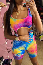 Multicolor Fashion Sexy Print Tie Dye Hollowed Out Strap Design U Neck Sleeveless Two Pieces