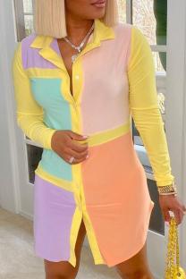 Yellow Casual Color Block Buttons Turndown Collar Shirt Dress Dresses