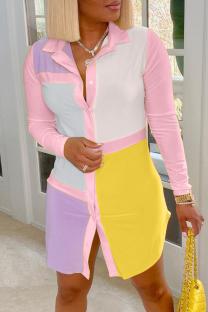 Pink Casual Color Block Buttons Turndown Collar Shirt Dress Dresses