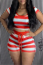 Red Casual Striped Print Basic O Neck Short Sleeve Two Pieces