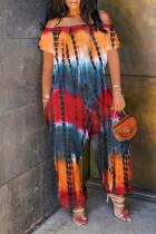 Orange Fashion Casual Print Tie Dye Backless Off the Shoulder Regular Jumpsuits
