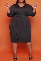 Black Fashion Casual Dot Print Basic O Neck Long Sleeve Plus Size Dresses