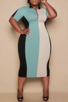 Light Blue Fashion Casual Plus Size Striped Basic Zipper Collar Short Sleeve Dress