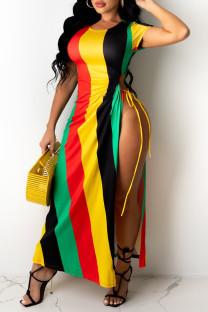 Multicolor Fashion Sexy Striped Print Bandage Crystal O Neck Short Sleeve Dress