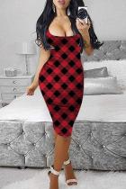 Red Fashion Sexy Print Basic U Neck Vest Dress
