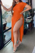 Orange Fashion Sexy Plus Size Solid Hollowed Out Slit O Neck Short Sleeve Dress