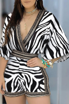 White Sexy Print Split Joint V Neck Loose Jumpsuits