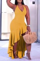 Yellow Fashion Sexy Plus Size Solid Backless Spaghetti Strap Irregular Dress