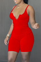 Red Sexy Casual Solid Backless V Neck Sleeveless Two Pieces