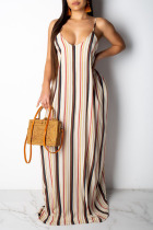 Stripe Casual Off The Shoulder Sleeveless Slip Swagger Floor-Length Print Patchwork