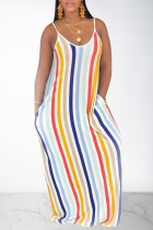 Rainbow color Casual Off The Shoulder Sleeveless Slip Swagger Floor-Length Print Patchwork