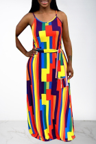 Multi-color Casual Off The Shoulder Sleeveless Slip Swagger Floor-Length Print Patchwork