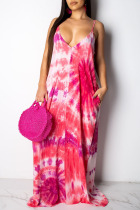 Pink Casual Off The Shoulder Sleeveless Slip Swagger Floor-Length Print Patchwork