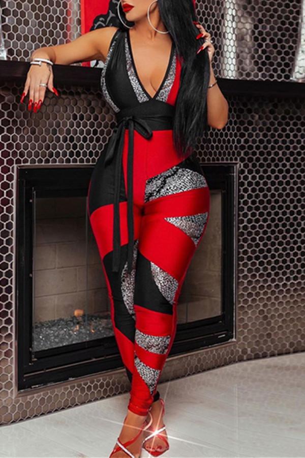 Red Fashion Sexy Patchwork Basic V Neck Skinny Jumpsuits