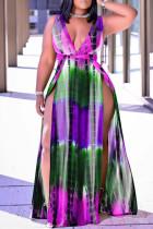Purple Fashion Sexy Print Tie Dye Slit V Neck Vest Dress