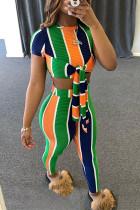 Colour Fashion Casual Striped Print Frenulum O Neck Short Sleeve Two Pieces