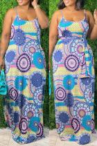 Light Blue Sexy Casual Plus Size Print Backless Spaghetti Strap Sleeveless Dress