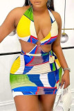 Multicolor Fashion Sexy Print Backless Halter Sleeveless Dress