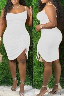 White Fashion Sexy Plus Size Solid Draw String Backless Spaghetti Strap Sleeveless Dress