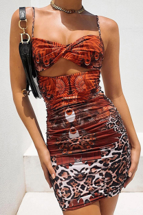 Red Sexy Print Hollowed Out Spaghetti Strap Pencil Skirt Dresses