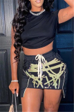 Black Fashion Sexy Print Asymmetrical O Neck Short Sleeve Two Pieces