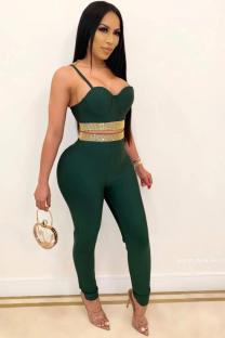 Green adult Sexy Fashion Two Piece Suits Patchwork diamonds Solid pencil Sleeveless