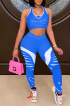Blue Casual Sportswear Letter Print Vests Pants U Neck Sleeveless Two Pieces