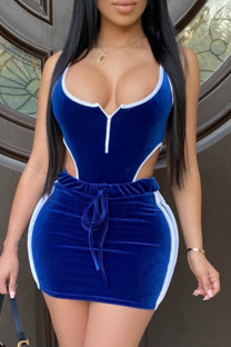 Blue Fashion adult Patchwork backless HOLLOWED OUT Solid Two Piece Suits asymmetrical Hip skirt