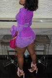 Pink Sexy Print Split Joint V Neck Pencil Skirt Dresses