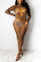 Brown Sexy Print Mesh O Neck Pencil Skirt Dresses