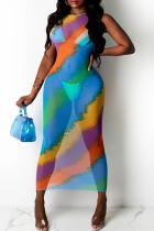 Peacock Blue Sexy Print Mesh O Neck Pencil Skirt Dresses