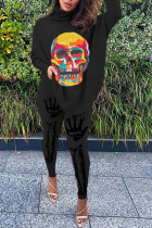 Black Fashion Casual Print Basic O Neck Long Sleeve Two Pieces