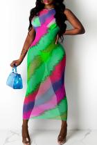 Fluorescent Green Sexy Print Mesh O Neck Pencil Skirt Dresses