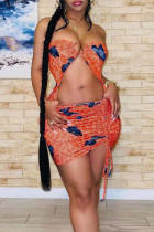 Orange Sexy Butterfly Print Hollowed Out Backless Strapless Sleeveless Dress